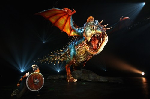 Deadly Nadder animatronic dragon and viking from HOW TO TRAIN YOUR DRAGON ARENA SPECTACULAR show