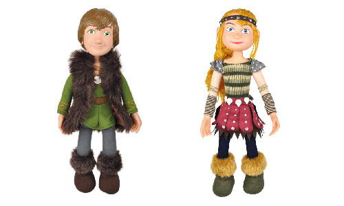 Astrid and Hiccup plush dolls from the How to Train Your Dragon Arena Spectacular