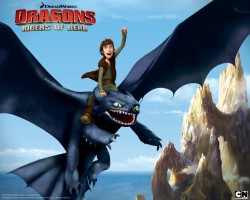 Hiccup with his dragon Toothless the Night Fury from Dreamworks Dragons: Riders of Berk TV series How to Train Your Dragon