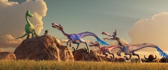 Pixar's The Good Dinosaur movie: Arlo meets the raptors