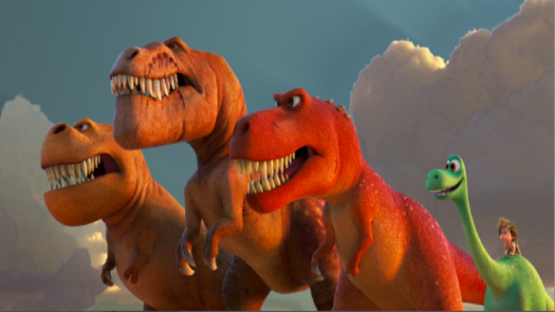 Characters from Pixar's The Good Dinosaur movie featuring Butch, Nash, Ramsy, Arlo and Spot