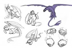 Concept drawings of Toothless the dragon from How to Train Your Dragon